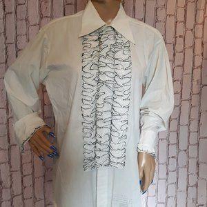 Vintage 1970 Ruffled Prom Tuxedo Dress Shirt